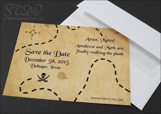 Pirate save the date card